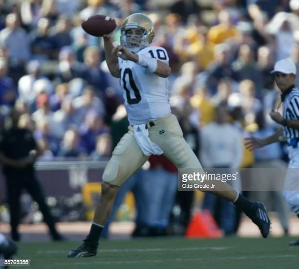 Quarterback Brady Quinn of the Notre Dame Fighting Irish passes against the Washington Huskies on September 24, 2005 at Husky Stadium in Seattle,...