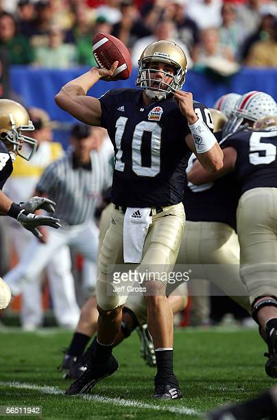 Quarterback Brady Quinn of the Notre Dame Fighting Irish passes the ball against the Ohio State Buckeyes at the Tostito's Fiesta Bowl at Sun Devil...