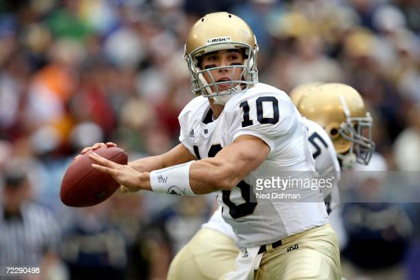 Quarterback Brady Quinn of the Notre Dame Fighting Irish passes against the Navy Midshipman on October 28 2006 at M T Bank Stadium in Baltimore...