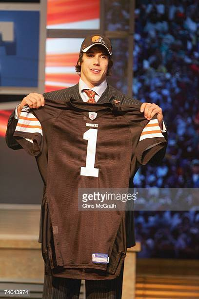 Quarterback Brady Quinn poses for a photo after being drafted by the Cleveland Browns during the 2007 NFL Draft on April 28 2007 at Radio City Music...