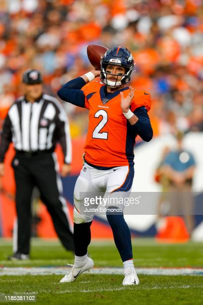 Quarterback Brandon Allen of the Denver Broncos throws a pass against the Cleveland Browns during the first quarter at Empower Field at Mile High on...