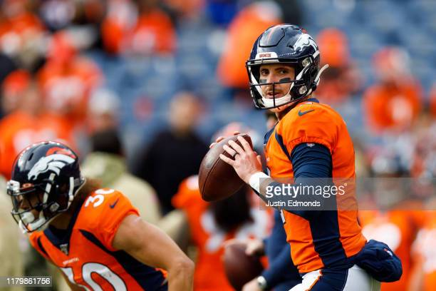 Quarterback Brandon Allen of the Denver Broncos warms up before a game against the Cleveland Browns at Empower Field at Mile High on November 3 2019...