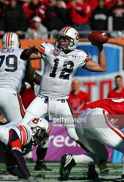 Quarterback Brandon Cox of the Auburn Tigers drops back to pass against the Nebraska Cornhuskers during the ATT Cotton Bowl Classic on January 1 2007...