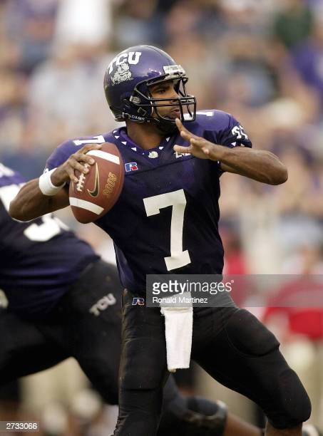 Quarterback Brandon Hassell of the Texas Christian University Horned Frogs throws the ball against the Cincinnati Bearcats at Amon G Carter Stadium...