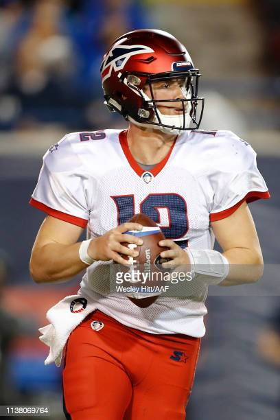 Quarterback Brandon Silvers of the Memphis Express looks to pass against the Birmingham Iron during the second quarter of their Alliance of American...