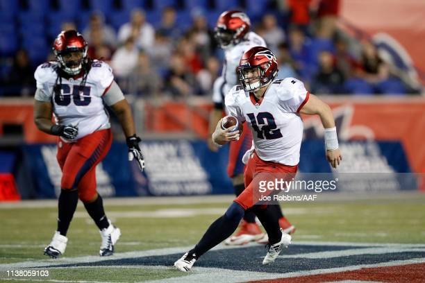 Quarterback Brandon Silvers of the Memphis Express runs the ball against the Birmingham Iron during the second quarter of their Alliance of American...