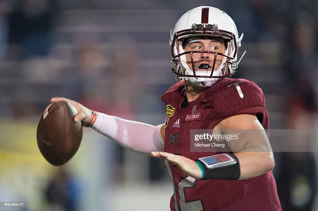 Quarterback Brandon Silvers #12 of the Troy Trojans during their game against the Ohio Bobcats on December 23, 2016 in Mobile, Alabama. The Troy Trojans defeated the Ohio Bobcats 28-23.