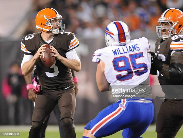 Quarterback Brandon Weeden of the Cleveland Browns drops back to pass during a game against the Buffalo Bills at FirstEnergy Stadium in Cleveland...