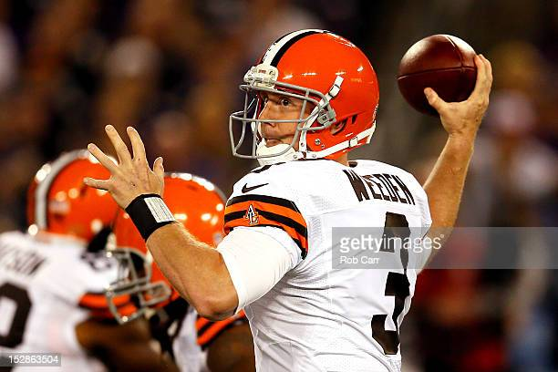 Quarterback Brandon Weeden of the Cleveland Browns looks to throw the ball against the Baltimore Ravens during the NFL Game at MT Bank Stadium on...