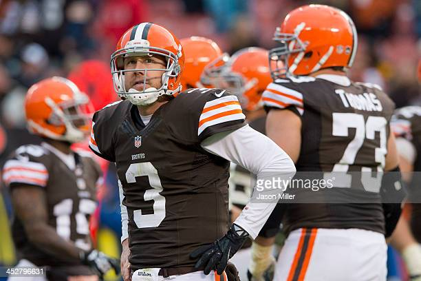 Quarterback Brandon Weeden of the Cleveland Browns reacts after throwing an incomplete pass during the final seconds of the fourth quarter against...