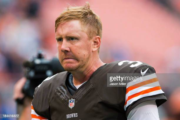 Quarterback Brandon Weeden of the Cleveland Browns reacts after the game against the Detroit Lions at FirstEnergy Stadium on October 13 2013 in...