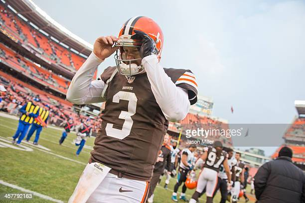 Quarterback Brandon Weeden of the Cleveland Browns reacts at the end of the game against the Jacksonville Jaguars at FirstEnergy Stadium on December...