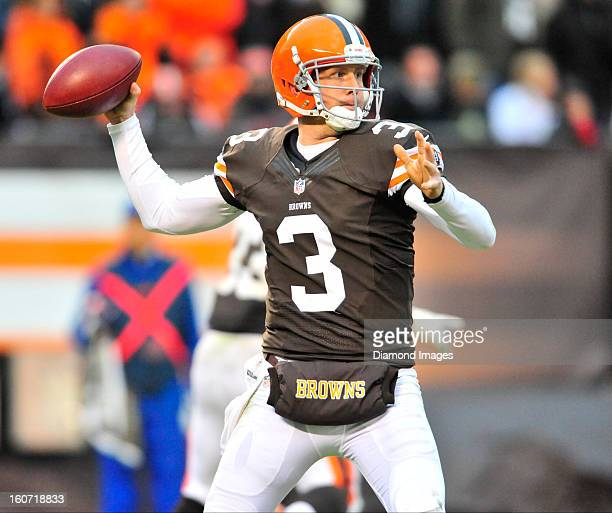 Quarterback Brandon Weeden of the Cleveland Browns throws a pass during a game against the Baltimore Ravens at Cleveland Browns Stadium in Cleveland...