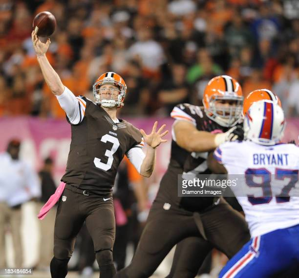 Quarterback Brandon Weeden of the Cleveland Browns throws a pass during a game against the Buffalo Bills at FirstEnergy Stadium in Cleveland Ohio The...
