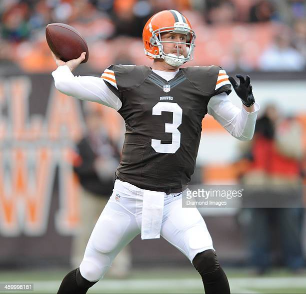 Quarterback Brandon Weeden of the Cleveland Browns throws a pass during a game against the Jacksonville Jaguars at FirstEnergy Stadium in Cleveland...