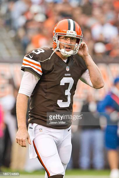 Quarterback Brandon Weeden of the Cleveland Browns walks off the field during the first half against the Cleveland Browns at FirstEnergy Stadium on...