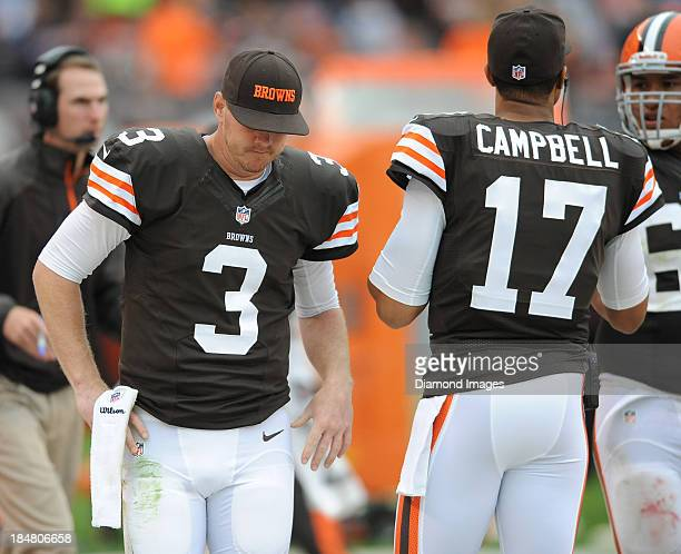 Quarterback Brandon Weeden of the Cleveland Browns walks on the sideline during a game against the Detroit Lions at FirstEnergy Stadium in Cleveland...