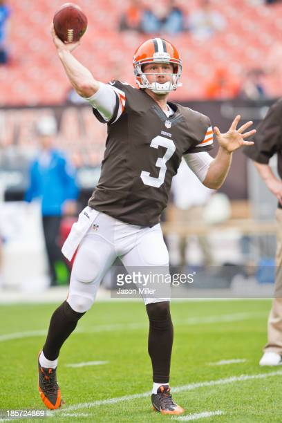 Quarterback Brandon Weeden of the Cleveland Browns warms up prior to the game against the Detroit Lions FirstEnergy Stadium on October 13 2013 in...