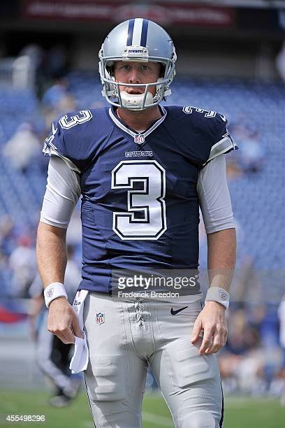 Quarterback Brandon Weeden of the Dallas Cowboys warms up prior to a game against the Tennessee Titans at LP Field on September 14 2014 in Nashville...