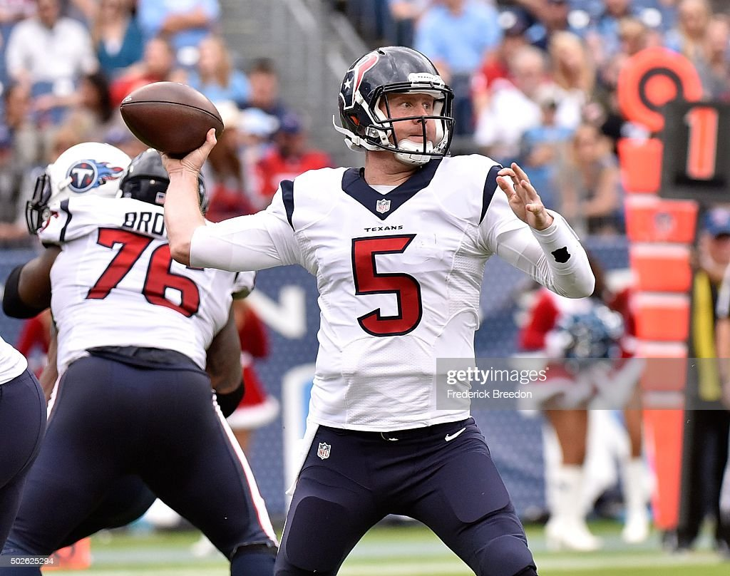 Quarterback Brandon Weeden #5 of the Houston Texans drops back to throw a pass against the Tennessee Titans during the first half at Nissan Stadium on December 27, 2015 in Nashville, Tennessee.