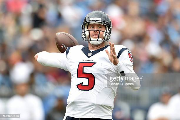 Quarterback Brandon Weeden of the Houston Texans passes against the Tennessee Titans during a NFL game at Nissan Stadium on December 27 2015 in...