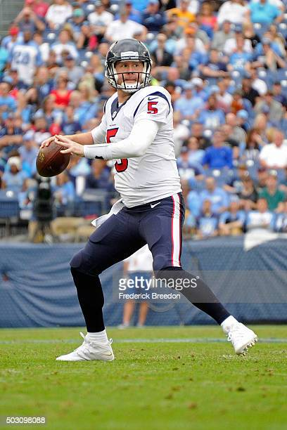 Quarterback Brandon Weeden of the Houston Texans plays against the Tennessee Titans at Nissan Stadium on December 27 2015 in Nashville Tennessee