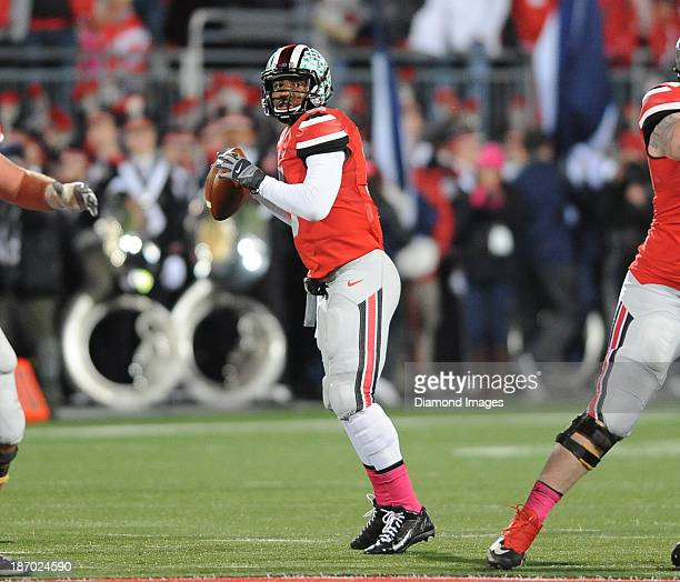 Quarterback Braxton Miller of the Ohio State Buckeyes drops back to pass during a game against the Penn State Nittany Lions at Ohio Stadium in...