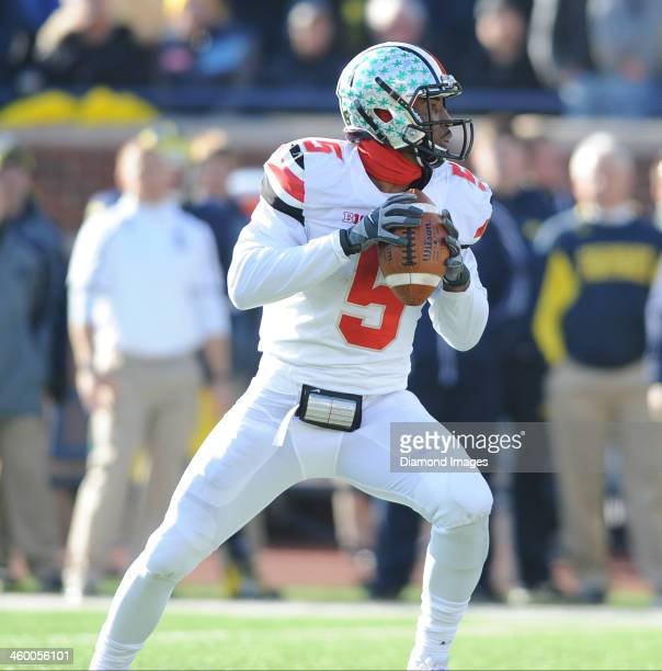 Quarterback Braxton Miller of the Ohio State Buckeyes drops back to pass during a game against the Michigan Wolverines at Michigan Stadium in Ann...