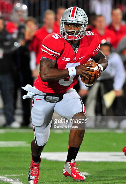 Quarterback Braxton Miller of the Ohio State Buckeyes makes a option pitch during a game with the Nebraska Cornhuskers at Ohio Stadium in Columbus,...