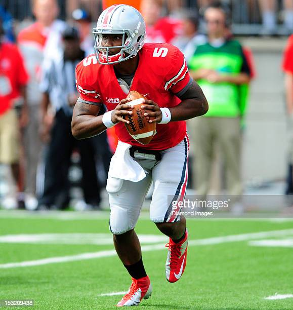 Quarterback Braxton Miller of the Ohio State Buckeyes rolls out to pass during a game with the California Bears on September 15, 2012 at Ohio Stadium...