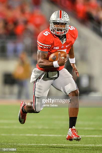 Quarterback Braxton Miller of the Ohio State Buckeyes runs with the ball against the Nebraska Cornhuskers at Ohio Stadium on October 6, 2012 in...