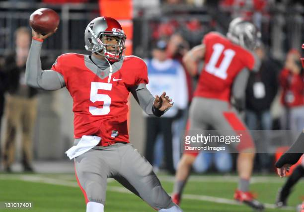 Quarterback Braxton Miller of the Ohio State Buckeyes sets up to throw a pass during a game with the Wisconsin Badgers at Ohio Stadium in Columbus...