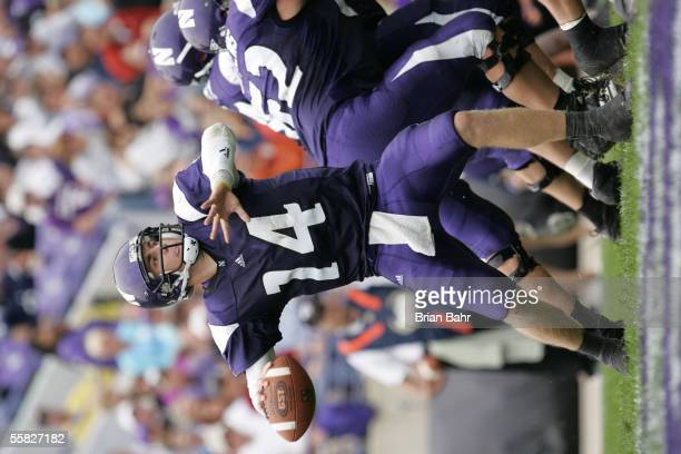 Quarterback Brett Basanez of the Northwestern Wildcats throws a pass against the Penn State Nittany Lions September 24, 2005 at Ryan Field in...
