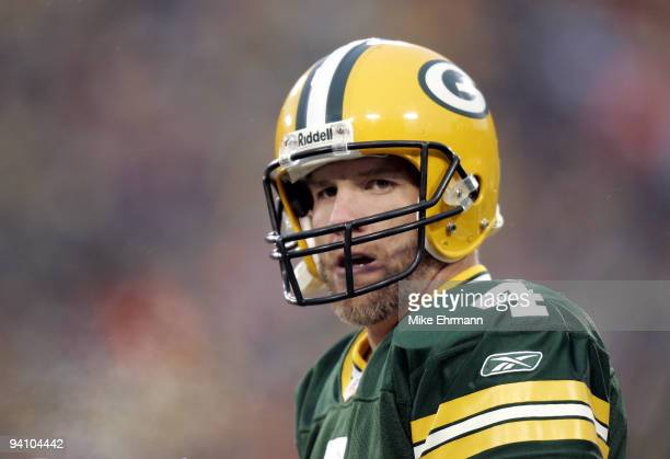 Quarterback Brett Favre of the Green Bay Packers during the first round playoff game against the Minnesota Vikings at Lambeau Field in Green Bay,...