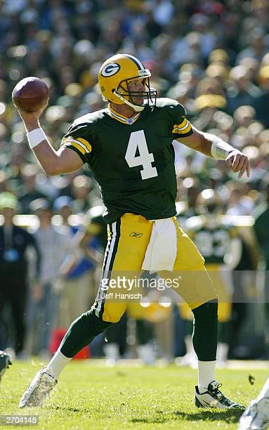 Quarterback Brett Favre of the Green Bay Packers passes against the Seattle Seahawks on October 5 2003 at Lambeau Field in Green Bay Wisconsin The...