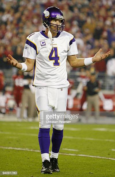 Quarterback Brett Favre of the Minnesota Vikings celebrates a touchdown in the first quarter against the Arizona Cardinals at University of Phoenix...