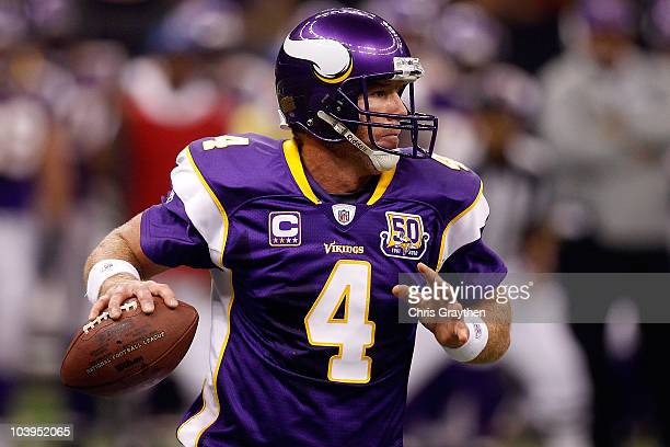 Quarterback Brett Favre of the Minnesota Vikings looks to pass the ball against the New Orleans Saints at Louisiana Superdome on September 9 2010 in...