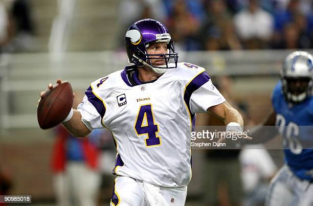 Quarterback Brett Favre of the Minnesota Vikings thorws a pass on the run against the Detroit Lions at Ford Field on September 20 2009 in Detroit...