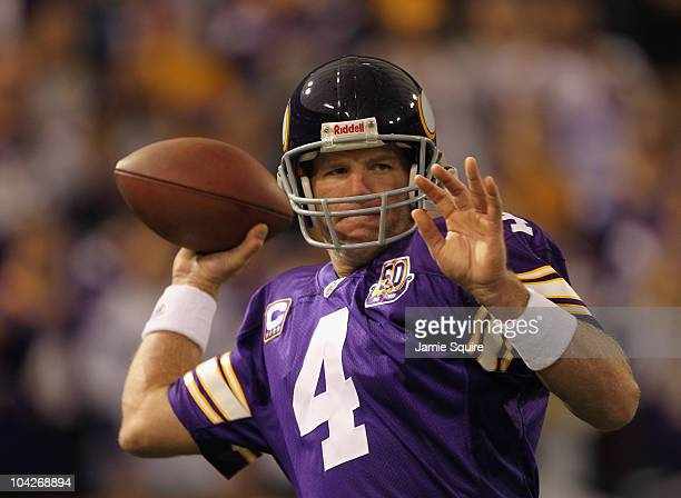 Quarterback Brett Favre of the Minnesota Vikings warms up prior to the start of the game against the Miami Dolphins on September 19, 2010 at Hubert...