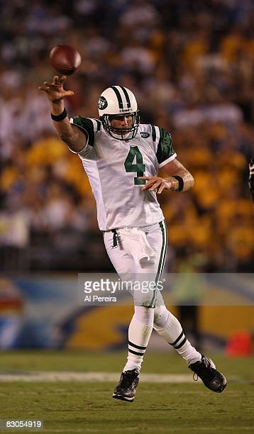 Quarterback Brett Favre of the New York Jets passes the ball when the Chargers host the Jets on Monday Night Football, on September 22, 2008 at...