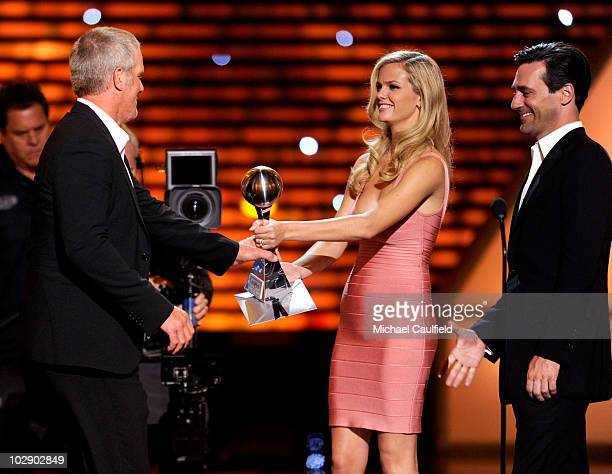 NFL quarterback Brett Favre onstage with model Brooklyn Decker and actor Jon Hamm speak onstage at the 2010 ESPY Awards at Nokia Theatre LA Live on...