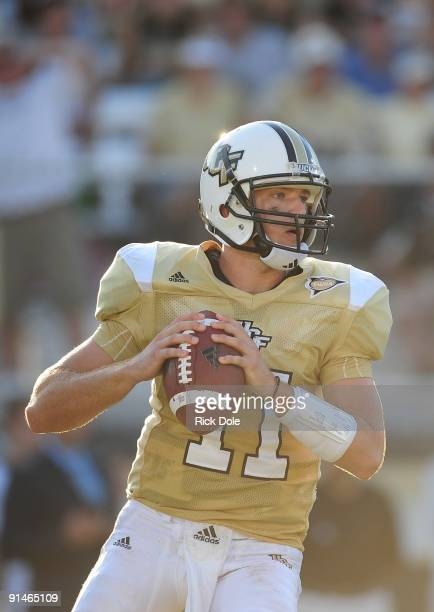 Quarterback Brett Hodges of Central Florida Knights drops back to pass against the Memphis Tigers at Bright House Networks Stadium on October 3 2009...