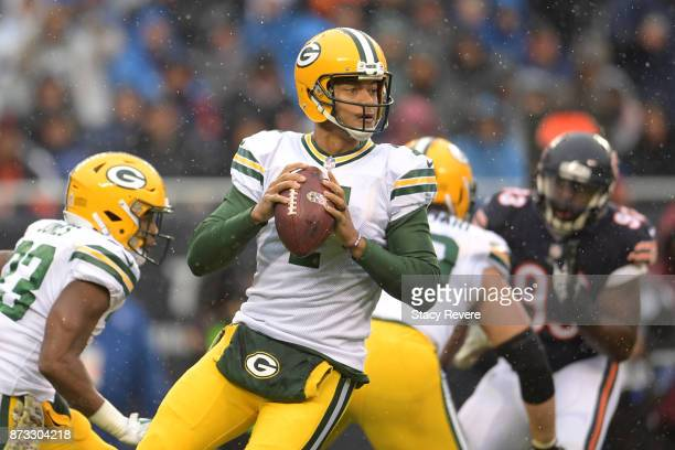 Quarterback Brett Hundley of the Green Bay Packers looks to pass the football against the Chicago Bears in the first quarter at Soldier Field on...