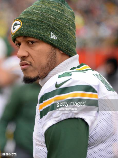 Quarterback Brett Hundley of the Green Bay Packers stands on the sideline prior to a game on December 10 2017 against the Cleveland Browns at...