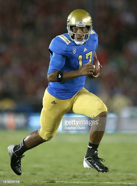 Quarterback Brett Hundley of the UCLA Bruins carries the ball against the Nebraska Cornhuskers at the Rose Bowl on September 8 2012 in Pasadena...