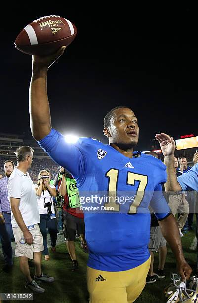 Quarterback Brett Hundley of the UCLA Bruins celebrates as he leaves the field after the game against the Nebraska Cornhuskers at the Rose Bowl on...