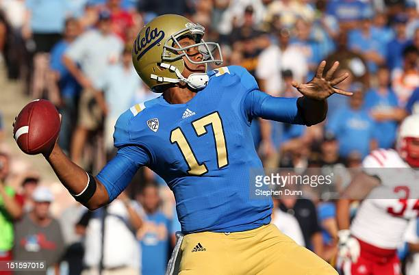 Quarterback Brett Hundley of the UCLA Bruins throws a pass against the Nebraska Cornhuskers at the Rose Bowl on September 8 2012 in Pasadena...