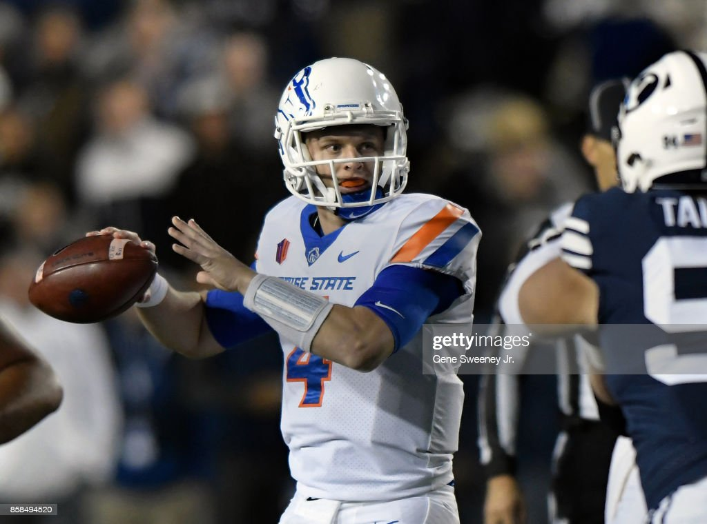 Quarterback Brett Rypien #4 of the Boise State Broncos looks to pass in the first half against the Brigham Young Cougars during their game at LaVell Edwards Stadium on October 6, 2017 in Provo, Utah.