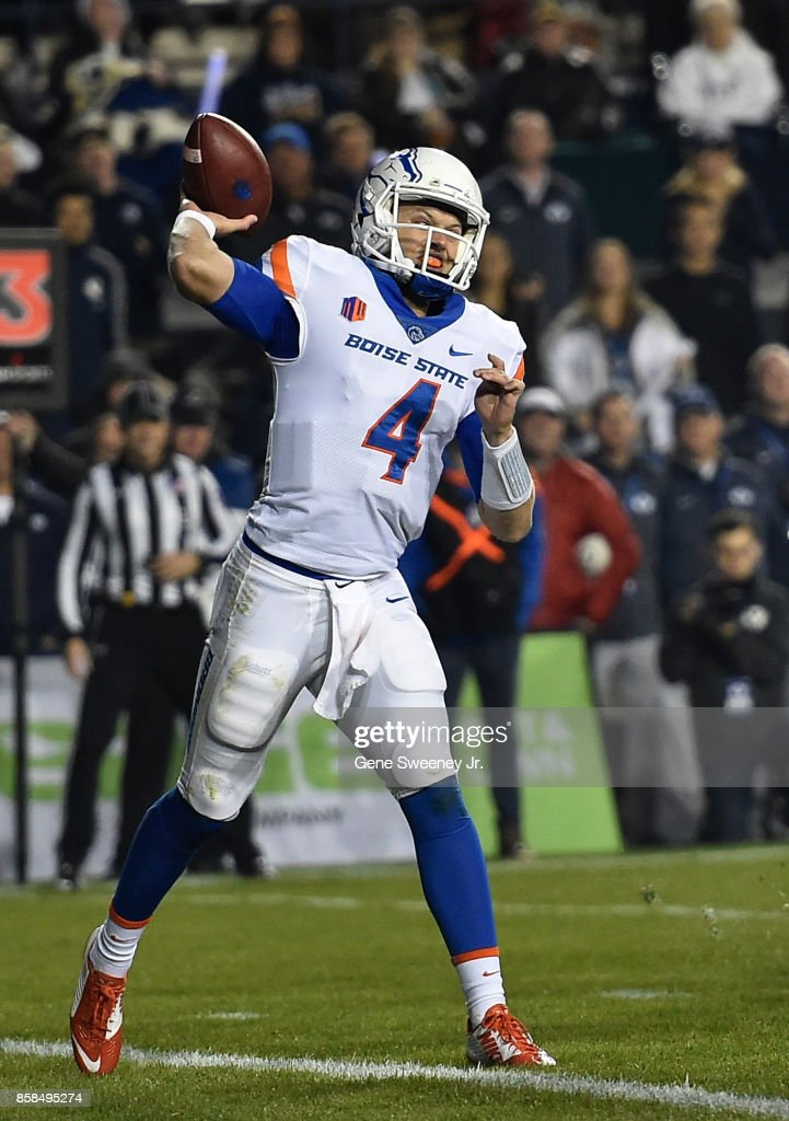 Quarterback Brett Rypien #4 of the Boise State Broncos passes from his end zone in the first half against the Brigham Young Cougars at LaVell Edwards Stadium on October 6, 2017 in Provo, Utah.