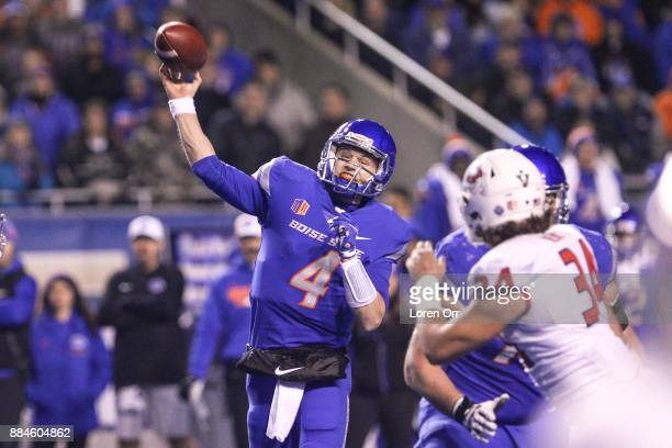 Quarterback Brett Rypien of the Boise State Broncos throws a pass during first half action in the Mountain West Championship against the Fresno State...